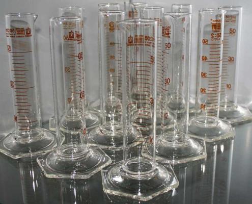 Probeta de laboratorio para la medición de líquidos